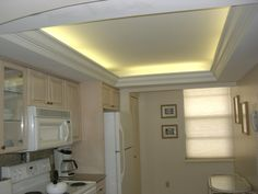 if your kitchen has a dropped ceiling with mezzanine and crannies you can opt for ceiling indirect lighting