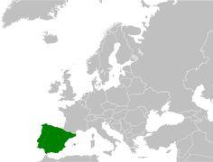 Localização da Península Ibérica (em verde) na Europa, delineando os dois principais países da região, Espanha e Portugal.