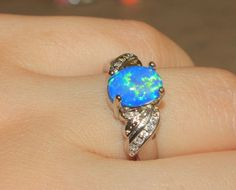 blue fire opal Cz ring Gemstone silver jewelry Sz 8.25 modern engagement  ME42