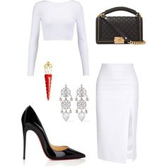 A fashion look from November 2017 featuring white shirt, Cushnie Et Ochs and christian louboutin pumps. Browse and shop related looks. Lila Outfits, Classy Outfits, Chic Outfits, Fashion Outfits, Girl Fashion, Fashion Looks, Womens Fashion, Outing Outfit, Christian Louboutin