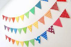 CUSTOM Color MINI Fabric Bunting Flags  Red Yellow Green