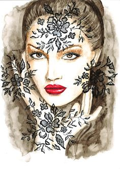 Original Watercolor Fashion Illustration Modern Art Painting titled Breathing of the Night