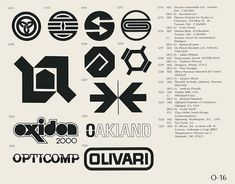 O-16  Collection of vintage logos from a mid-70's edition of the book World of Logotypes.