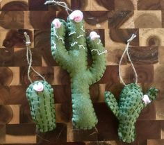 Sage Green Cactus Ornaments with Light Pink Flowers/Cactus Lover/Cactus Christmas Ornaments/Felt Ornaments/Southwest Ornaments/Cactus Party by OccasionalGoods on Etsy