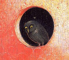 magictransistor:  Hieronymus Bosch, The Garden of Earthly Delights (Detail), Paradise, Owl at center, 1480-1490.