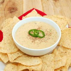 Queso Blanco Dip - PERFECT. Shortcut - use canned diced jalepenos instead of fresh Boars Head White American is best