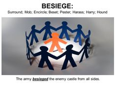 Besiege: surround (a place) with armed forces in order to capture it or force its surrender; be inundated by large numbers of requests or complaints; Surround; Mob; Overwhelm Antonyms: Let go; Leave alone Collected an army to besiege the allies in Bourges.
