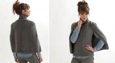 Cape, poncho ou pull, si vous n'arrivez pas à choisir, ce modèle est fait pour vous. Le pull comporte une cape par-dessus le dos. On craque pour cette idée vraiment originale. Tailles : ...