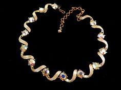 Vintage Kramer  Choker Necklace  Wavy Links Aurora by RAKcreations