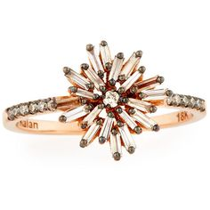 Suzanne Kalan Baguette Diamond Starburst Ring in 18K Rose Gold ($1,500) ❤ liked on Polyvore featuring jewelry, rings, rose gold diamond ring, baguette ring, pink gold rings, diamond band ring and champagne ring