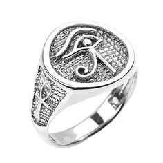 Sterling Silver Eye of Horus with Egyptian Ankh Crosses Mens RingSize 8 -- Continue to the product at the image link.