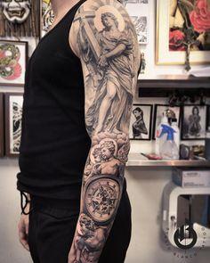 Sleeve Idea V (add feet as foundation? Best Sleeve Tattoos, Tattoo Sleeve Designs, Body Art Tattoos, Cool Tattoos, Religious Tattoo Sleeves, Mangas Tattoo, Heaven Tattoos, Jesus Tattoo, Mythology Tattoos