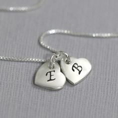 Valentines Gift for Her, Double Heart Initial Necklace, Heart Necklace, Sterling Silver Heart Necklace, Girlfriend Gift, Gift for Wife