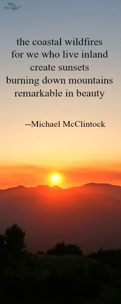 Tanka poem: the coastal wildfires -- Michael McClintock.