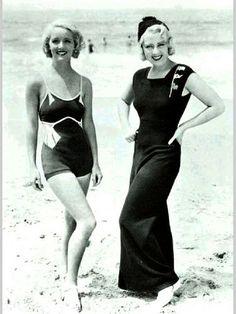 Bette Davis & Joan Blondell modeling on the beach in 1932