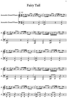 Fairy Tail written by Mortalflame8166 Anime Sheet Music, Piano Anime, Violin Sheet Music, Music Guitar, Music Sheets, Piano Music Easy, Fariy Tail, Anime Songs, Fairy Tail Guild