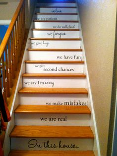 stairway painting ideas | DIY Family Rules; Stairs Style | My Cracked Pot