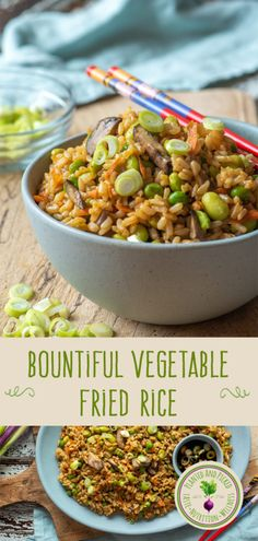 We use nutritious brown rice, garlic, ginger and lots of vegetables in this Bountiful Vegetable Fried Rice. Garlic Fried Rice, Vegetable Fried Rice, Rice Recipes, Lunch Recipes, Healthy Breakfast Recipes, Healthy Recipes, Oven Vegetables, Fries In The Oven