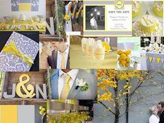 Yellow Meets Grey : PANTONE WEDDING Styleboard : The Dessy Group
