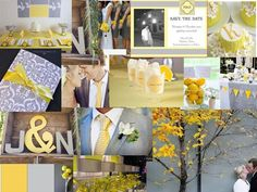 Yellow Meets Grey : PANTONE WEDDING Styleboard : The Dessy Group