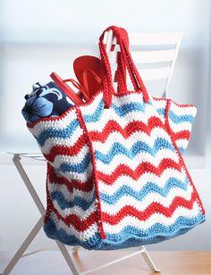 4th of July Beach Bag. ~❀CQ #crochet #bags #totes  http://www.pinterest.com/CoronaQueen/crochet-bags-totes-purses-cases-etc-corona/