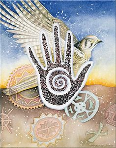 Speaking in Tongues    This painting happened like a dream coming together, first the hand and it's ornamentation, next the sparrow hawk, and then the landscape with the Chumash cave symbols.  It reminds me of my deep love of the backcountry here in California.    Evokes: Love of Nature