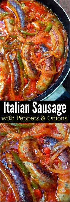 Italian Sausage with Peppers & Onions – Aunt Bee's Recipes Italienische Wurst mit Paprika & Zwiebeln – Tante Bees Rezepte Crock Pot Recipes, Hot Sausage Recipes, Pork Recipes, Slow Cooker Recipes, Cooking Recipes, Broccoli Recipes, Recipes With Italian Sausage Links, Recipies, Best Hot Sausage Recipe