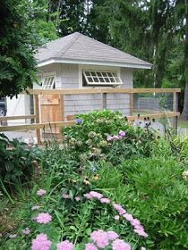 """The exterior of potting shed/""""hen cottage"""""""