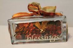 Autumn Blessings Glass Block. I could do this much cheaper!
