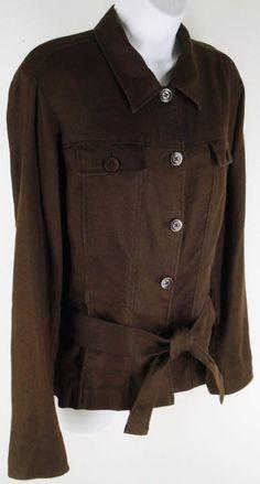 Jones New York Signature 100% Linen Jacket Size L Brown Belted Pockets #JonesNewYork #BasicJacket