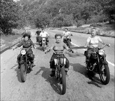 three women - vintage motorcycles - sweet ride