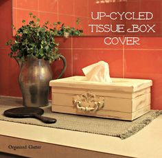 Up-cycled Tissue Box Cover/Vinegar Distressing Method www.organizedclutter.net