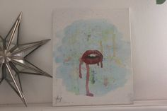 ♡ Thank you for visiting my shop! ♡  ✧ Red Dripping Lips, original watercolor painting.  ✧ Painted by hand.  ✧ 8x10 cotton canvas panel.  ✧