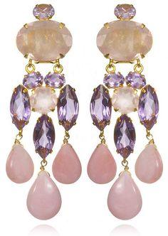 Bounkit Amethyst, Rose Quartz & Pink Opal Chandelier Earrings
