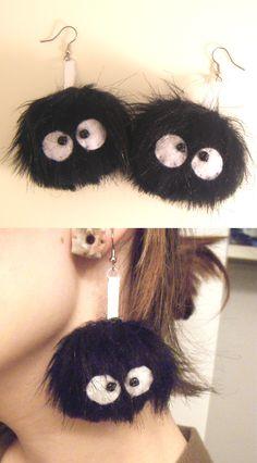Dust bunnies from Totoro. Such cute earrings!