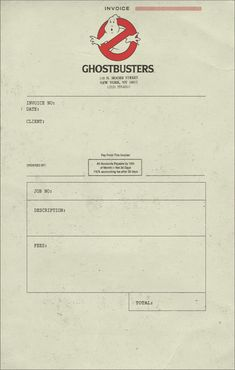 Ghostbusters Invoice