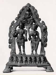 A Jain yaksha and yakshi. Made of bronze. Date 9th C - 10th C. Karnataka, Deccan.