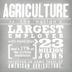 Agriculture is the nation's Largest employer with more than 23 million jobs. that's the civilian workforce involved in some fact of American Agriculture.