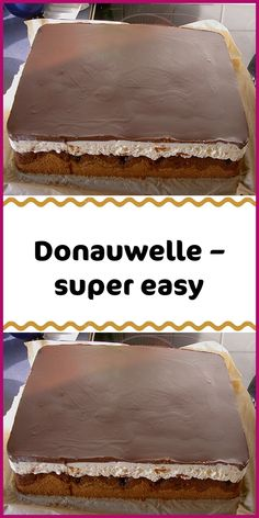 Donauwelle - super easy - Ingredients For the dough: 3 egg (s) 175 g sugar 175 ml oil 175 ml milk 350 g flour 3 tsp baking po - Cake Mix Cookie Recipes, Cake Mix Cookies, Cupcake Recipes, Snack Recipes, Avocado Recipes, Chocolate Cake Recipe Easy, Homemade Chocolate, Oreo, Pumpkin Spice Cupcakes