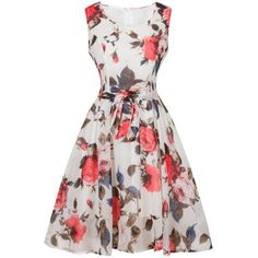 Retro Style Floral Print Belted Dress