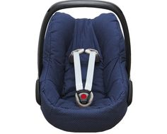 Cosy cover for your Maxi Cosi Pebble or Pebble Plus baby car seat in blue with little dots. The cover keeps your baby cozy, warm and comfortable! It easily fits perfectly over the regular Maxi-Cosi Pebble or Pebble Plus baby car seat without removing anything. The cover is made of 100 % cotton, Oeko-Tex® Standard 100 certified and machine washable at 40 degrees.