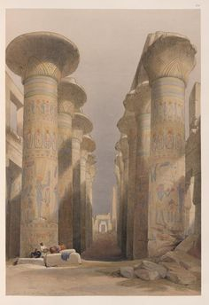 Thebes. Great Hall at Karnak. Nov. 28, 1838.  [Central avenue of the Great Hall of Columns, Karnak.]   (1846-1849) by David Roberts