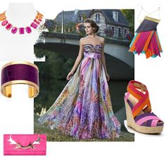 Fun summer hues abound in Kristi's entry for the Formal Summer Soiree #fashion #contest #outfit #summerdress