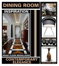 """""""Contemporary Elegance - Dining Room Inspiration"""" by latoyacl ❤ liked on Polyvore featuring interior, interiors, interior design, hogar, home decor, interior decorating, Tonon, Oliver Gal Artist Co., Eichholtz y dining room"""