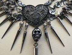 Hearts Spikes and Skulls Statement Necklace Love death by Skullbag, £39.50