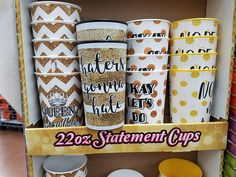 "These cups were spotted at Walmart a couple of years ago, with KING BASIL on the ""haters gonna hate"" one. Yes, I bought a couple of them as souvenirs. And yes, it's a print of a photo of glitter, not actual glitter. Basil, Hate, Fonts, Cups, Walmart, Glitter, King, Projects, Mugs"