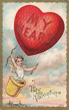 Antique Valentine's Day Postcard Gilded Hot Air Balloon with Cupid 5213 Valentine Cupid, Valentine Wishes, Vintage Valentine Cards, Valentine Day Love, Funny Valentine, Valentine Day Cards, Valentine Ideas, Holiday Postcards, Vintage Postcards