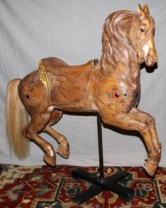 "M.C. ILLIONS CARVED WOOD CAROUSEL HORSE, H 51"" : Lot 32056"