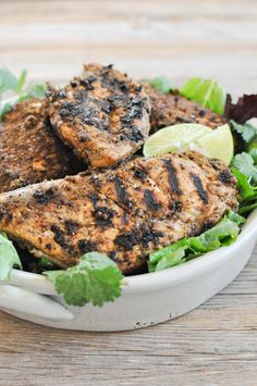 This Paleo Jerk chicken is packed with flavor and will change your opinion about boring, bland chicken breasts! Paleo Jerk Chicken, Paleo Chicken Recipes, Grilling Recipes, Raw Food Recipes, Low Carb Recipes, Paleo Meals, Healthy Meals, Healthy Living Recipes, Healthy Cooking