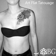 Tattoo rose mandala arabesques
